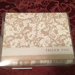 Lace and burlap thank you cards